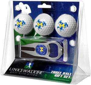 McNeese State Cowboys - 3 Ball Gift Pack with Hat Trick Divot Tool