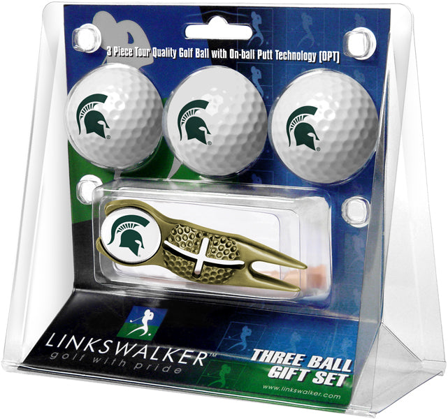 Michigan State Spartans - Gold Crosshair Divot Tool 3 Ball Gift Pack - Linkswalkerdirect