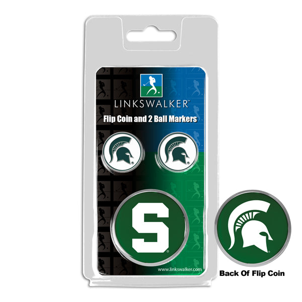 Michigan State Spartans - Flip Coin and 2 Golf Ball Marker Pack
