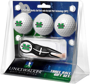 Marshall University Thundering Herd - Black Crosshair Divot Tool 3 Ball Gift Pack