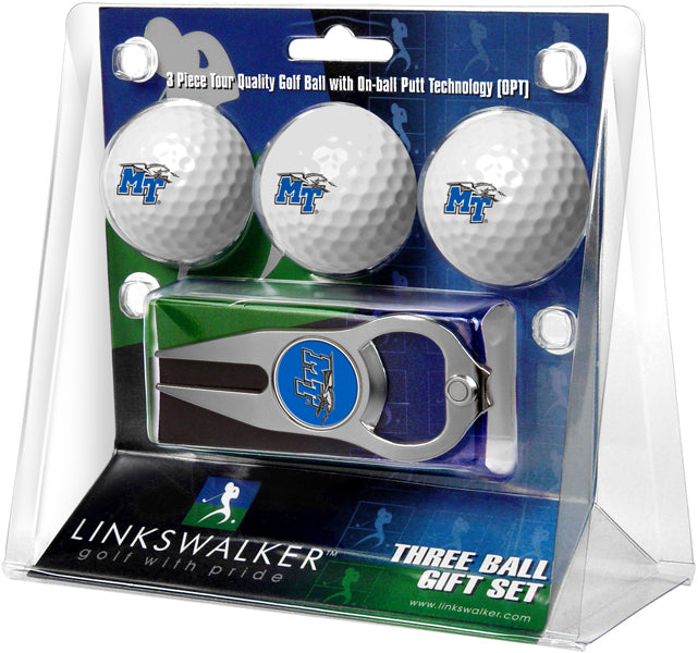 Middle Tenn. State Blue Raiders - 3 Ball Gift Pack with Hat Trick Divot Tool
