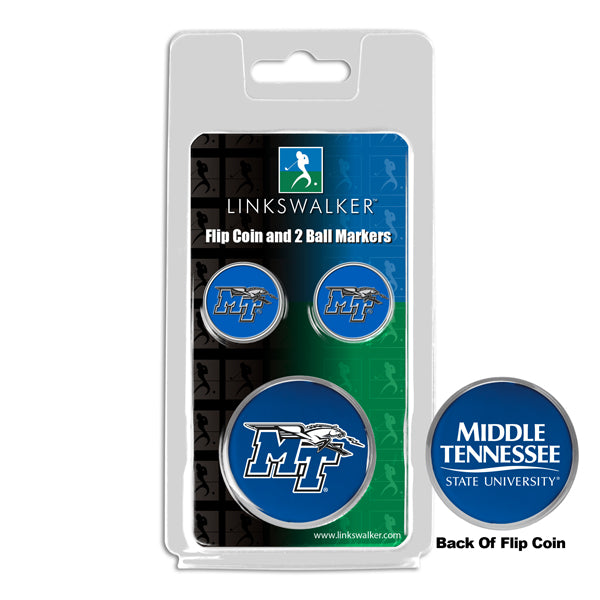 Middle Tenn. State Blue Raiders - Flip Coin and 2 Golf Ball Marker Pack