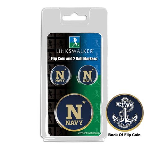 Naval Academy Midshipmen - Flip Coin and 2 Golf Ball Marker Pack