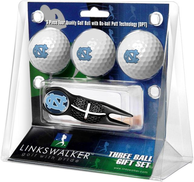 North Carolina Tar Heels - Black Crosshair Divot Tool 3 Ball Gift Pack