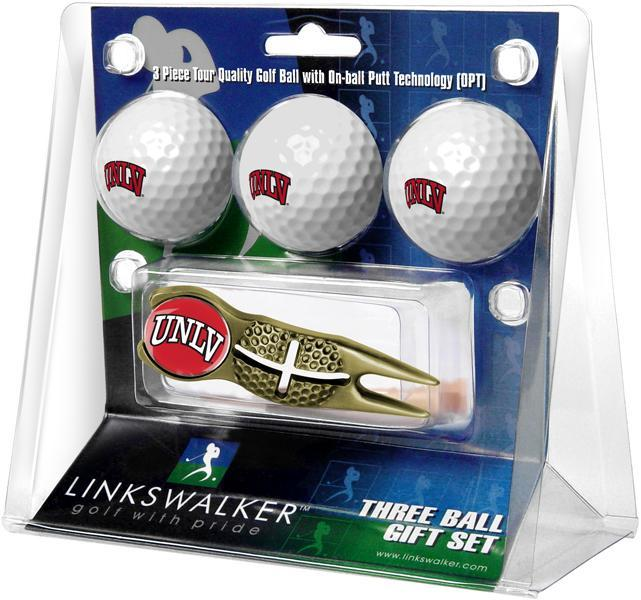 UNLV Rebels - Gold Crosshair Divot Tool 3 Ball Gift Pack - Linkswalkerdirect