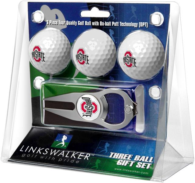 Ohio State Buckeyes - 3 Ball Gift Pack with Hat Trick Divot Tool