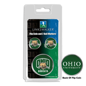 Ohio University Bobcats - Flip Coin and 2 Golf Ball Marker Pack
