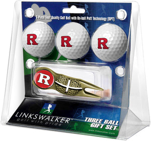 Rutgers Scarlet Knights - Gold Crosshair Divot Tool 3 Ball Gift Pack