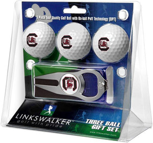 South Carolina Gamecocks - 3 Ball Gift Pack with Hat Trick Divot Tool