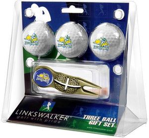 South Dakota State Jackrabbits - Gold Crosshair Divot Tool 3 Ball Gift Pack - Linkswalkerdirect