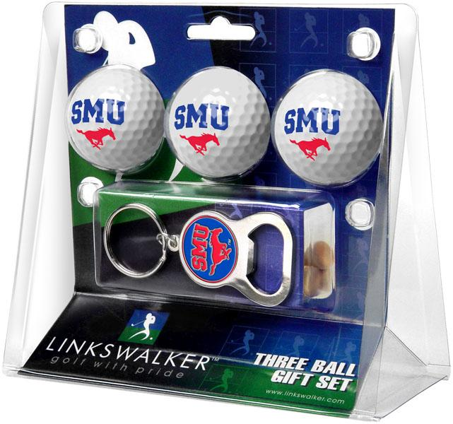 Southern Methodist University Mustangs - 3 Ball Gift Pack with Key Chain Bottle Opener