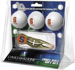 Syracuse Orange - Gold Crosshair Divot Tool 3 Ball Gift Pack - Linkswalkerdirect