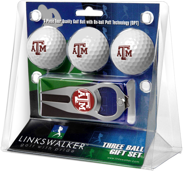 Texas A&M Aggies - 3 Ball Gift Pack with Hat Trick Divot Tool