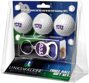 Texas Christian Horned Frogs - 3 Ball Gift Pack with Key Chain Bottle Opener