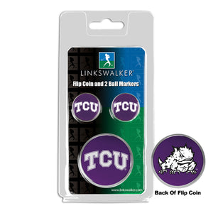 Texas Christian Horned Frogs - Flip Coin and 2 Golf Ball Marker Pack