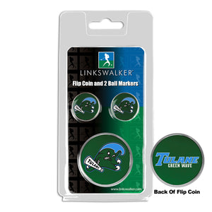 Tulane University Green Wave - Flip Coin and 2 Golf Ball Marker Pack