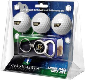 Central Florida Knights - 3 Ball Gift Pack with Key Chain Bottle Opener
