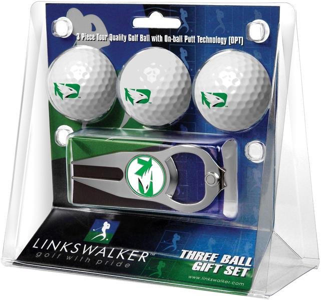 North Dakota Fighting Hawks - 3 Ball Gift Pack with Hat Trick Divot Tool