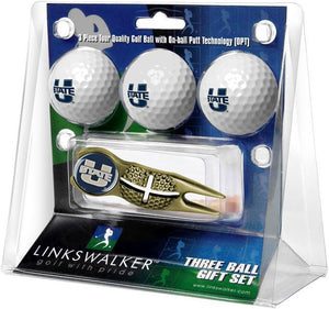 Utah State University Aggies - Gold Crosshair Divot Tool 3 Ball Gift Pack - Linkswalkerdirect