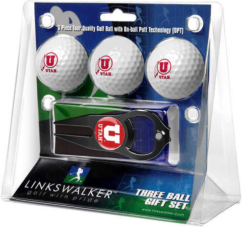 Utah Utes - 3 Ball Gift Pack with Hat Trick Divot Tool Black