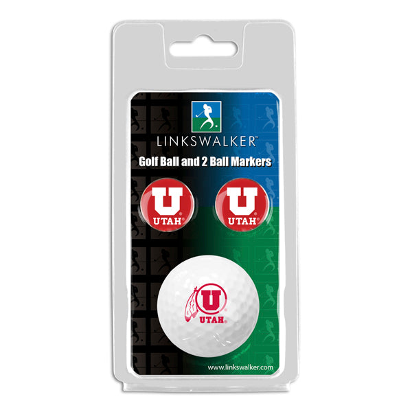 Utah Utes - Golf Ball and 2 Ball Marker Pack
