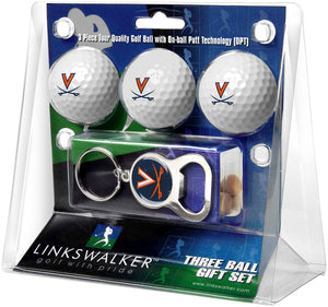 Virginia Cavaliers - 3 Ball Gift Pack with Key Chain Bottle Opener