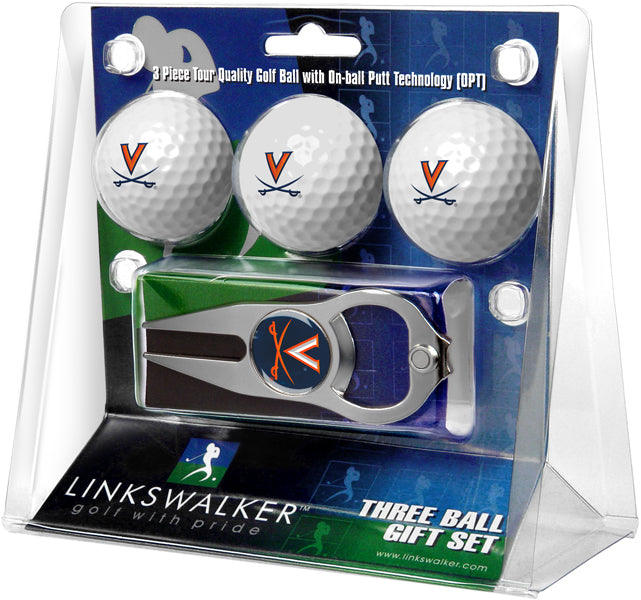 Virginia Cavaliers - 3 Ball Gift Pack with Hat Trick Divot Tool