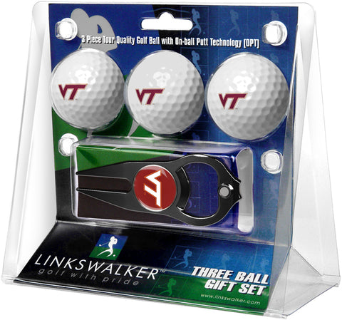 Virginia Tech Hokies - 3 Ball Gift Pack with Hat Trick Divot Tool Black