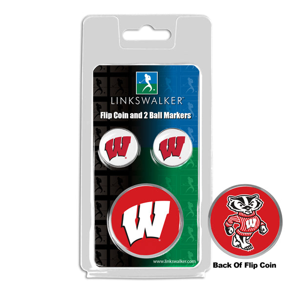 Wisconsin Badgers - Flip Coin and 2 Golf Ball Marker Pack