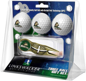 Wright State Raiders - Gold Crosshair Divot Tool 3 Ball Gift Pack - Linkswalkerdirect