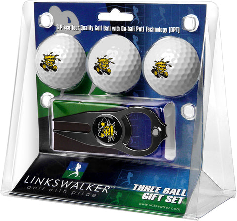 Wichita State Shockers - 3 Ball Gift Pack with Hat Trick Divot Tool Black