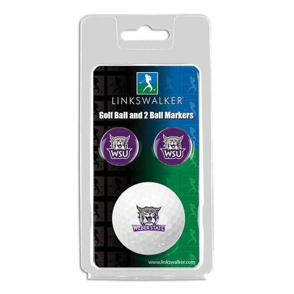 Weber State Wildcats - Golf Ball and 2 Ball Marker Pack