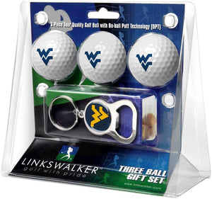 West Virginia Mountaineers - 3 Ball Gift Pack with Key Chain Bottle Opener