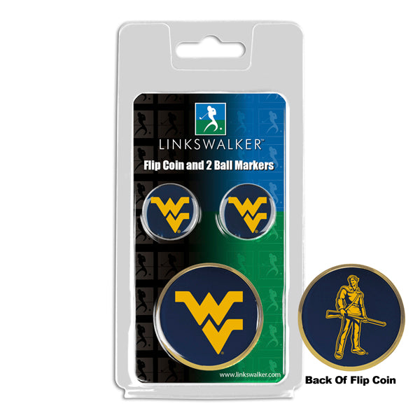 West Virginia Mountaineers - Flip Coin and 2 Golf Ball Marker Pack