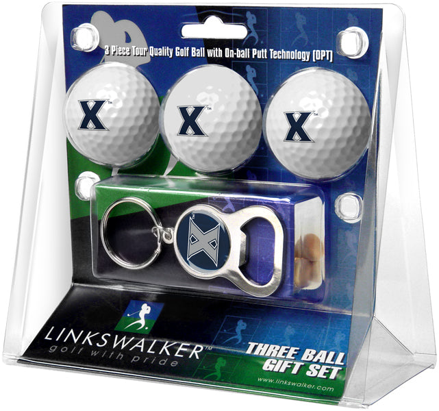 Xavier Musketeers - 3 Ball Gift Pack with Key Chain Bottle Opener