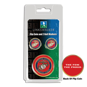 US Marines - Flip Coin and 2 Golf Ball Marker Pack