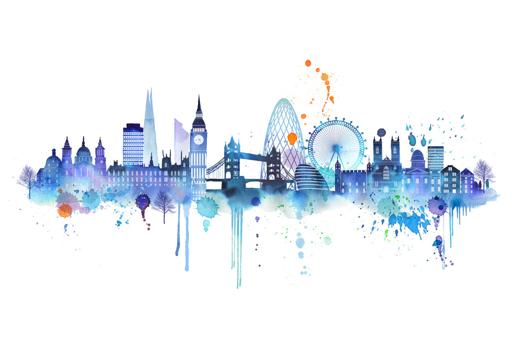 Blue London Skyline Print - Limited Edition