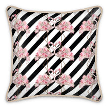 Load image into Gallery viewer, Entwined Flamingo Silk Cushion