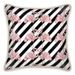 Entwined Flamingo Silk Cushion