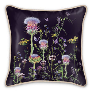 Artichoke Thistle Silk Cushion