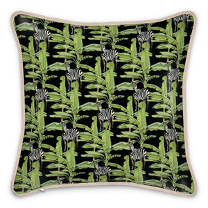 Pre-order: Tropical Zebras Silk Cushion