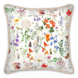 Pre-order: Wild Walk Silk Cushion - Cotton White