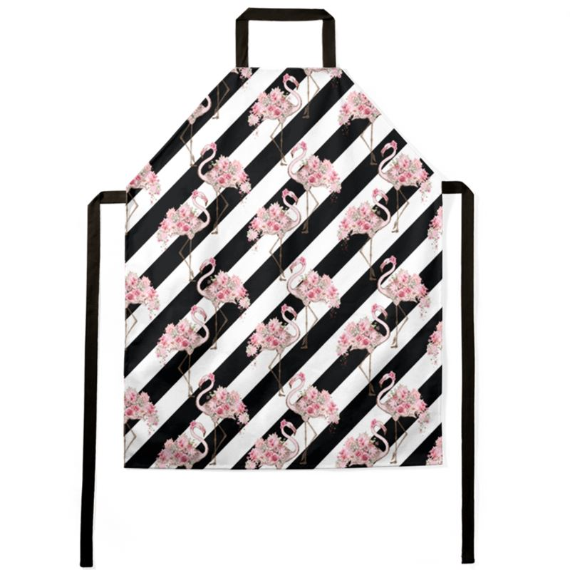 Floral Flamingo Black Stripe Apron
