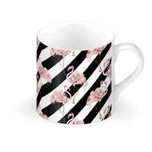 Load image into Gallery viewer, Floral Flamingo Black Stripe Mug