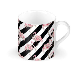 Floral Flamingo Black Stripe Mug