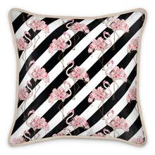 Load image into Gallery viewer, Pre-order: Floral Flamingo Black Stripe Silk Cushion
