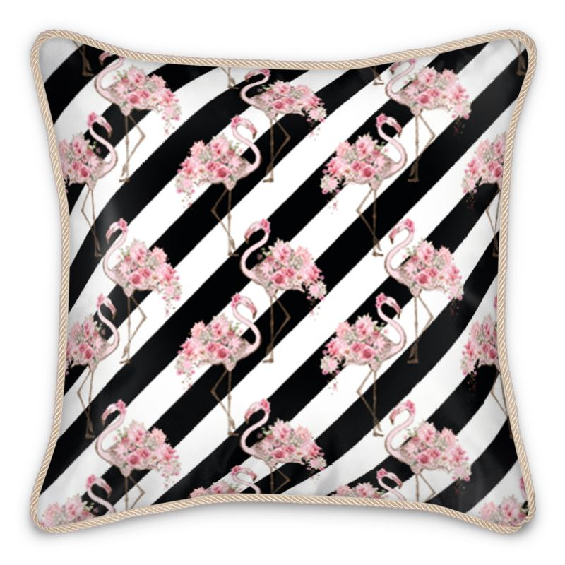 Pre-order: Floral Flamingo Black Stripe Silk Cushion