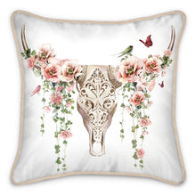Load image into Gallery viewer, Pre-order: Floral Skull Silk Cushion