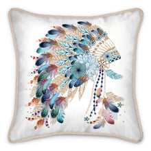 Load image into Gallery viewer, Pre-order: Native American Headdress Silk Cushion