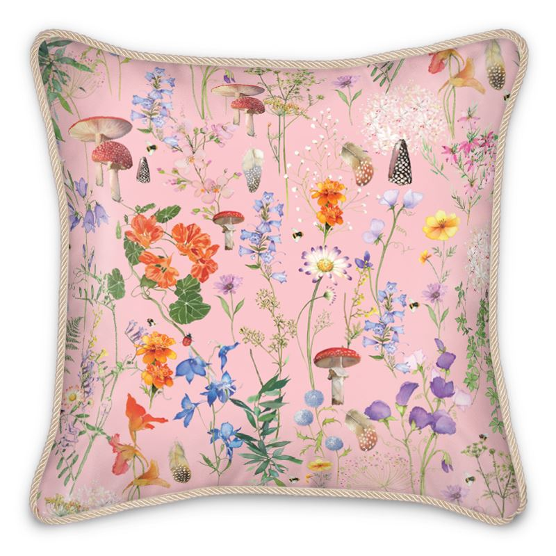 Wild Walk Silk Cushion - Blush Pink